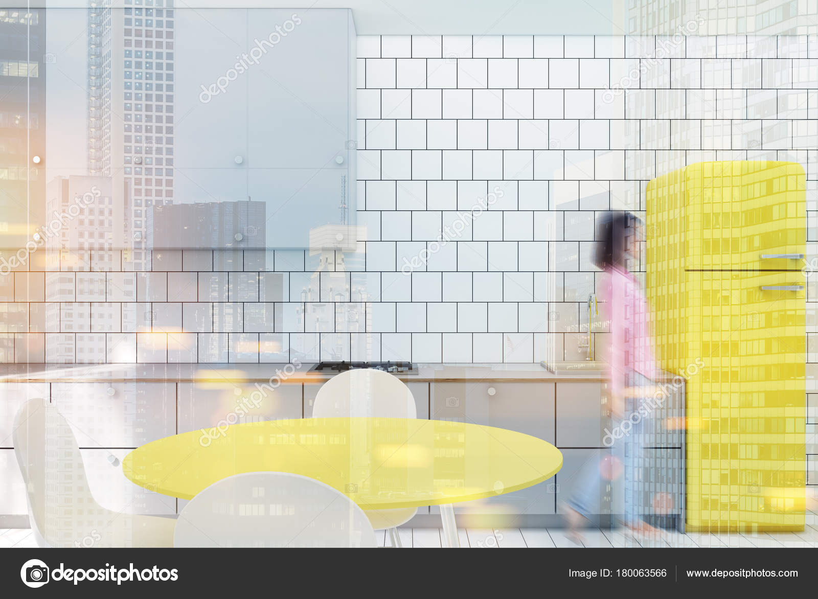 Białe Kafelki Kuchnia Lodówka żółty Stonowanych Zdjęcie