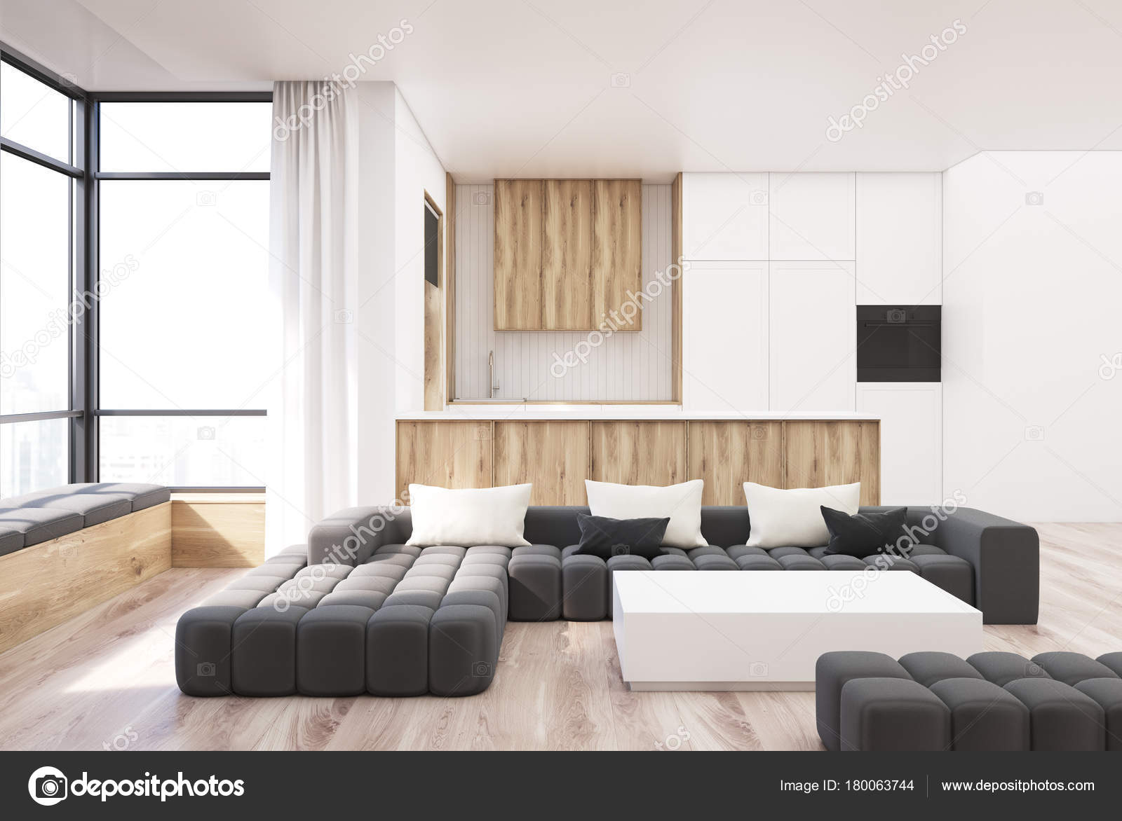 White and wooden living room square table — Stock Photo ...