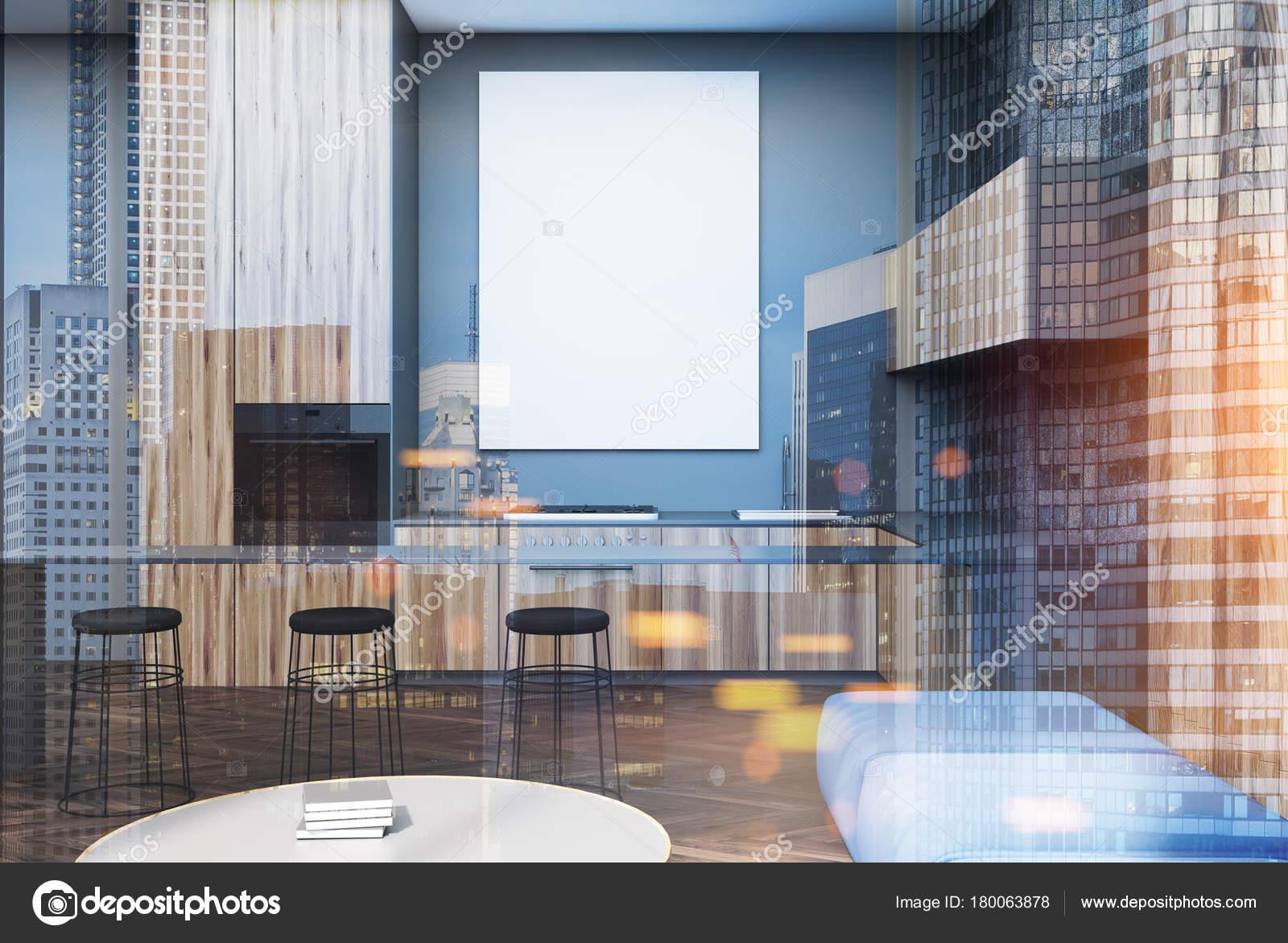 Salone grigio e legno sgabelli da bar di poster tonica u foto