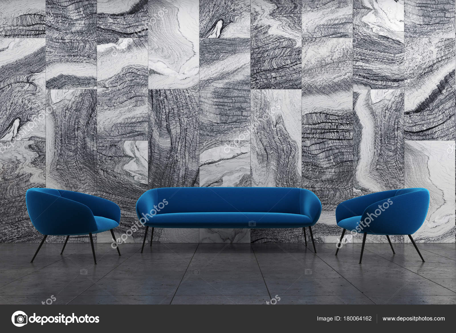 Swell Marble Living Room Blue Sofa Armchairs Stock Photo Evergreenethics Interior Chair Design Evergreenethicsorg