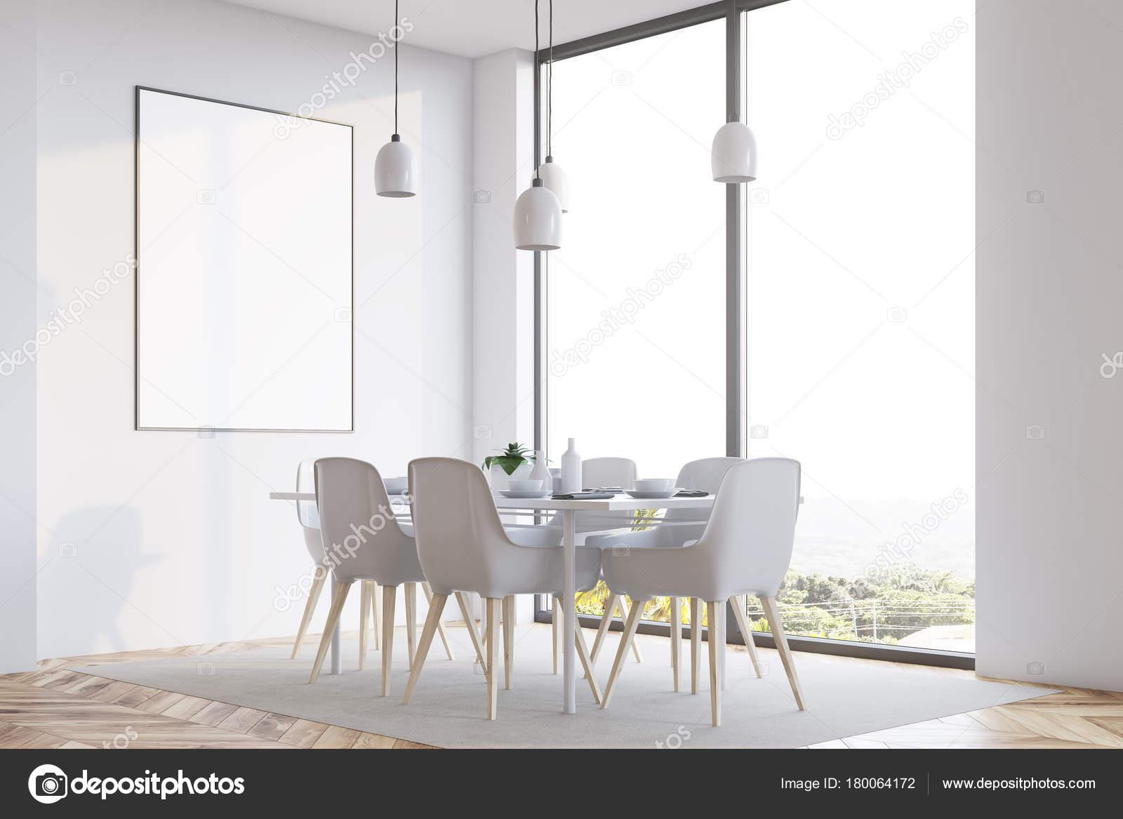Weiße minimalistisch speisesaal corner plakat u2014 stockfoto