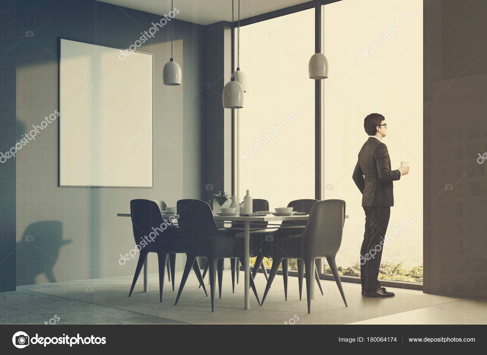 Graue minimalistisch esszimmer ecke plakat mann u2014 stockfoto