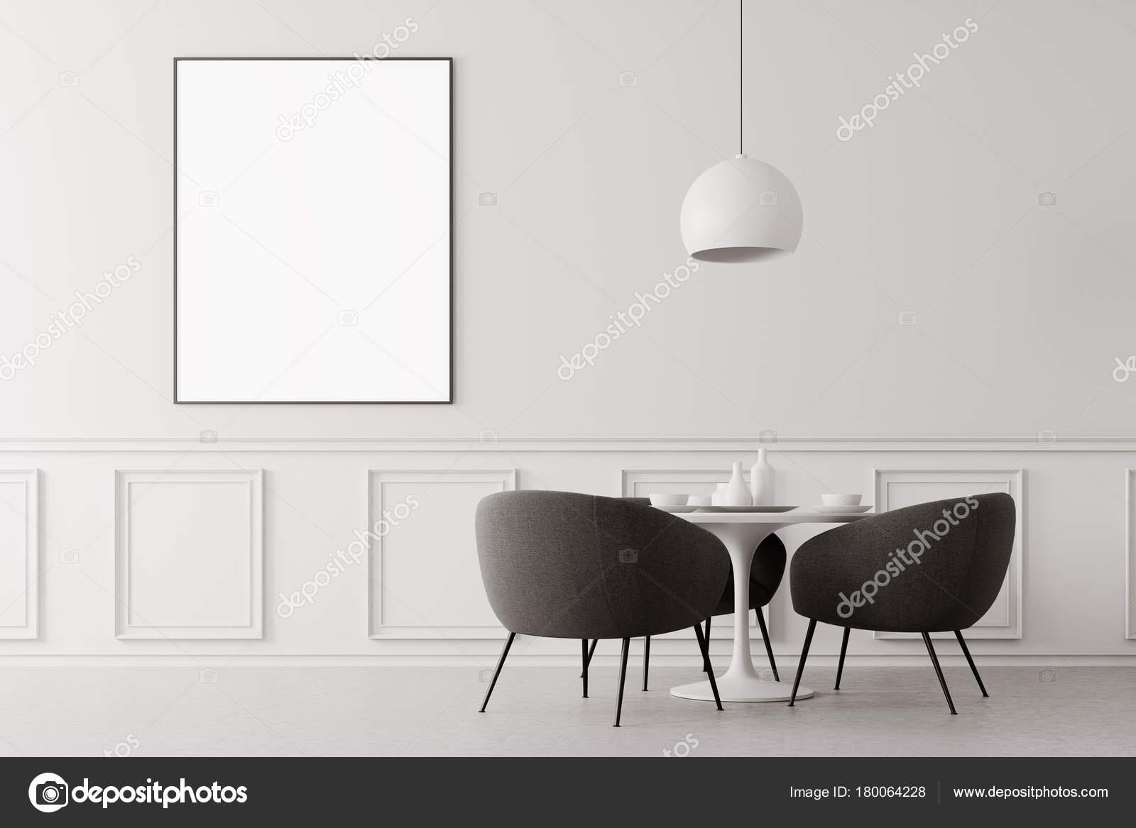 Weiße minimalistisch grauen esszimmerstühle u2014 stockfoto