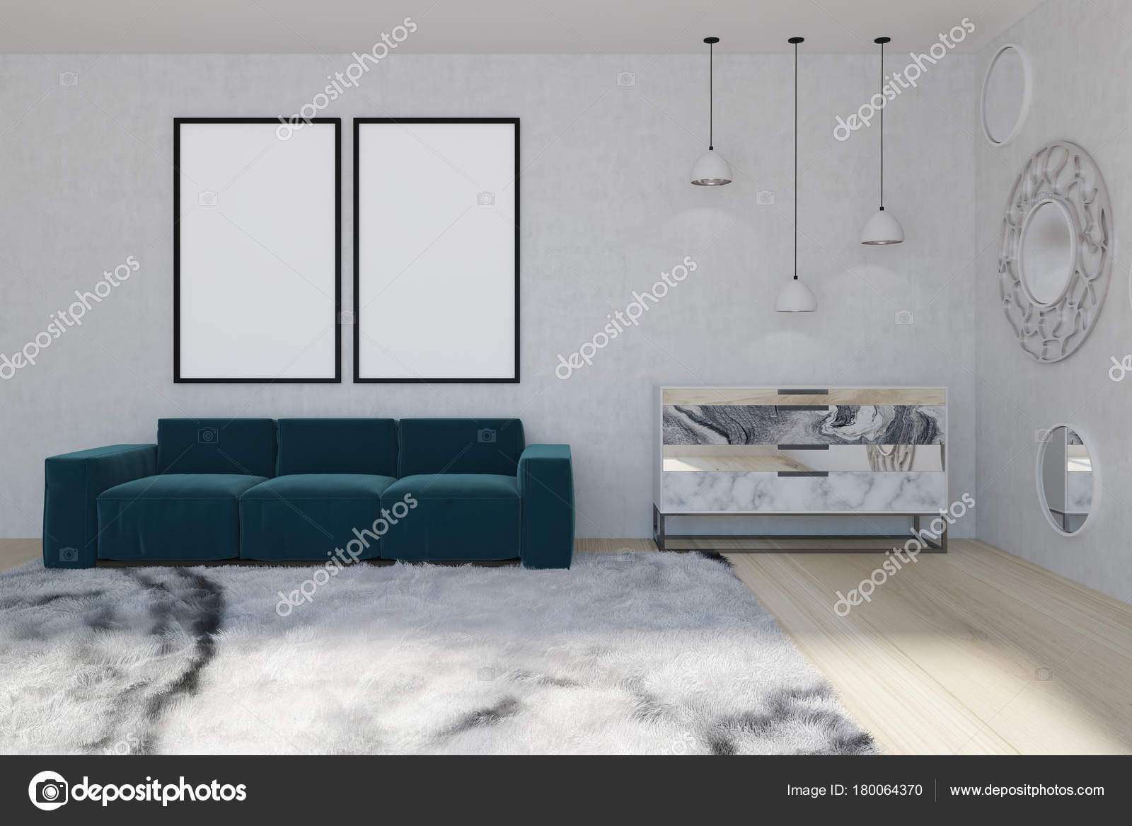 Spiegel woonkamer, blauwe sofa — Stockfoto © denisismagilov #180064370