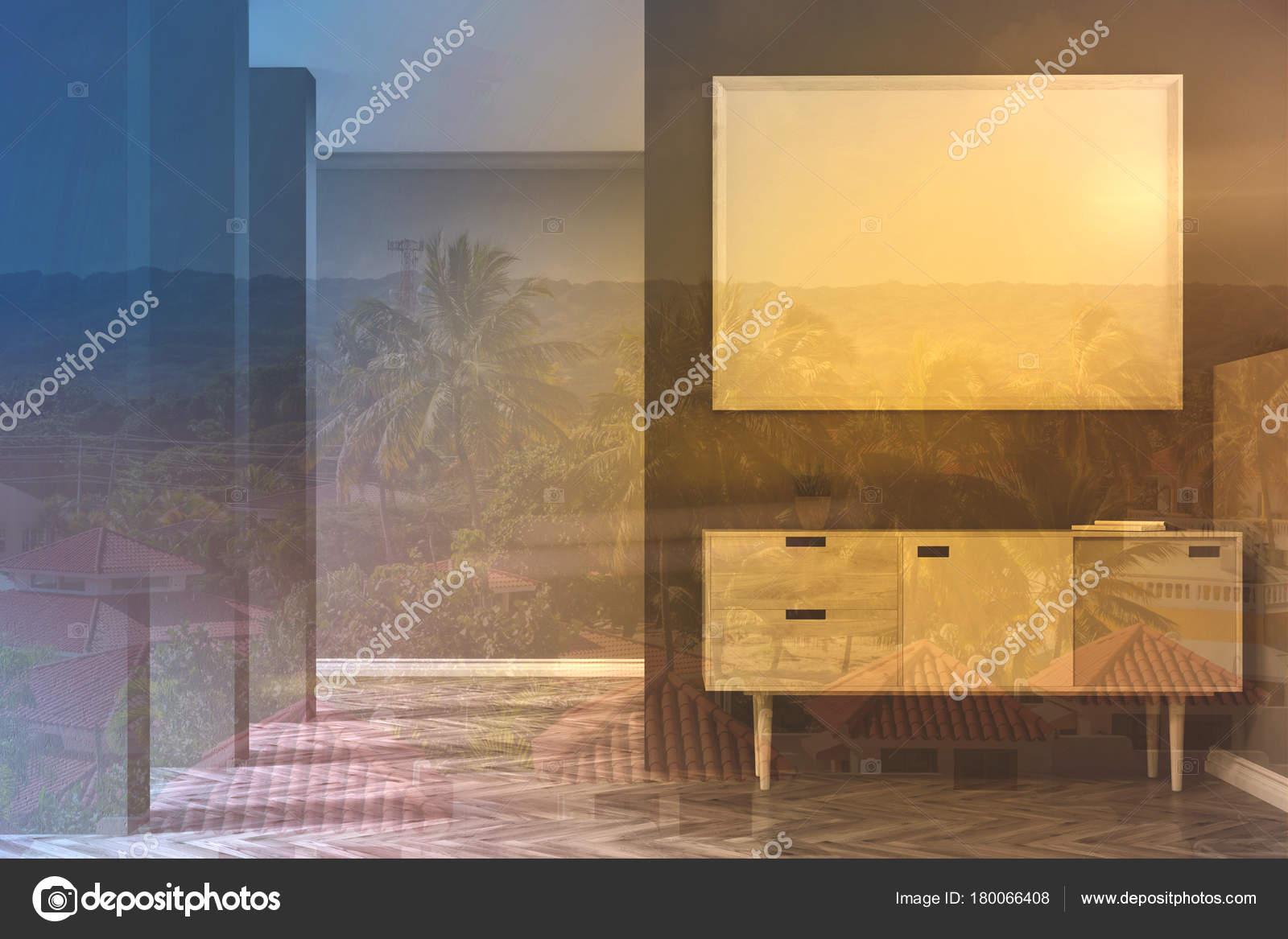 Graue wohnzimmer poster kommode getönt u2014 stockfoto