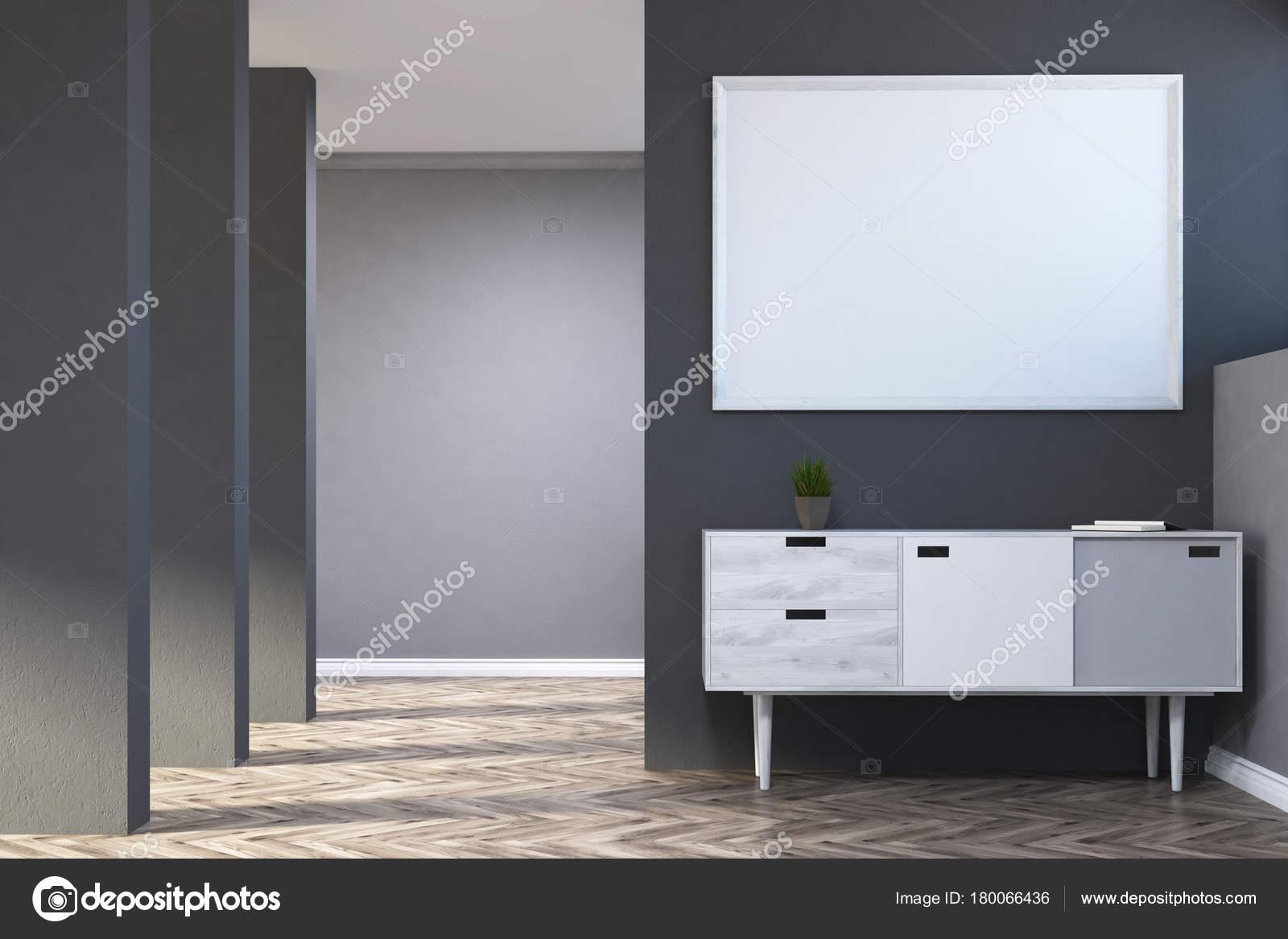 Grigio soggiorno, poster, cassettiera — Foto Stock © denisismagilov ...