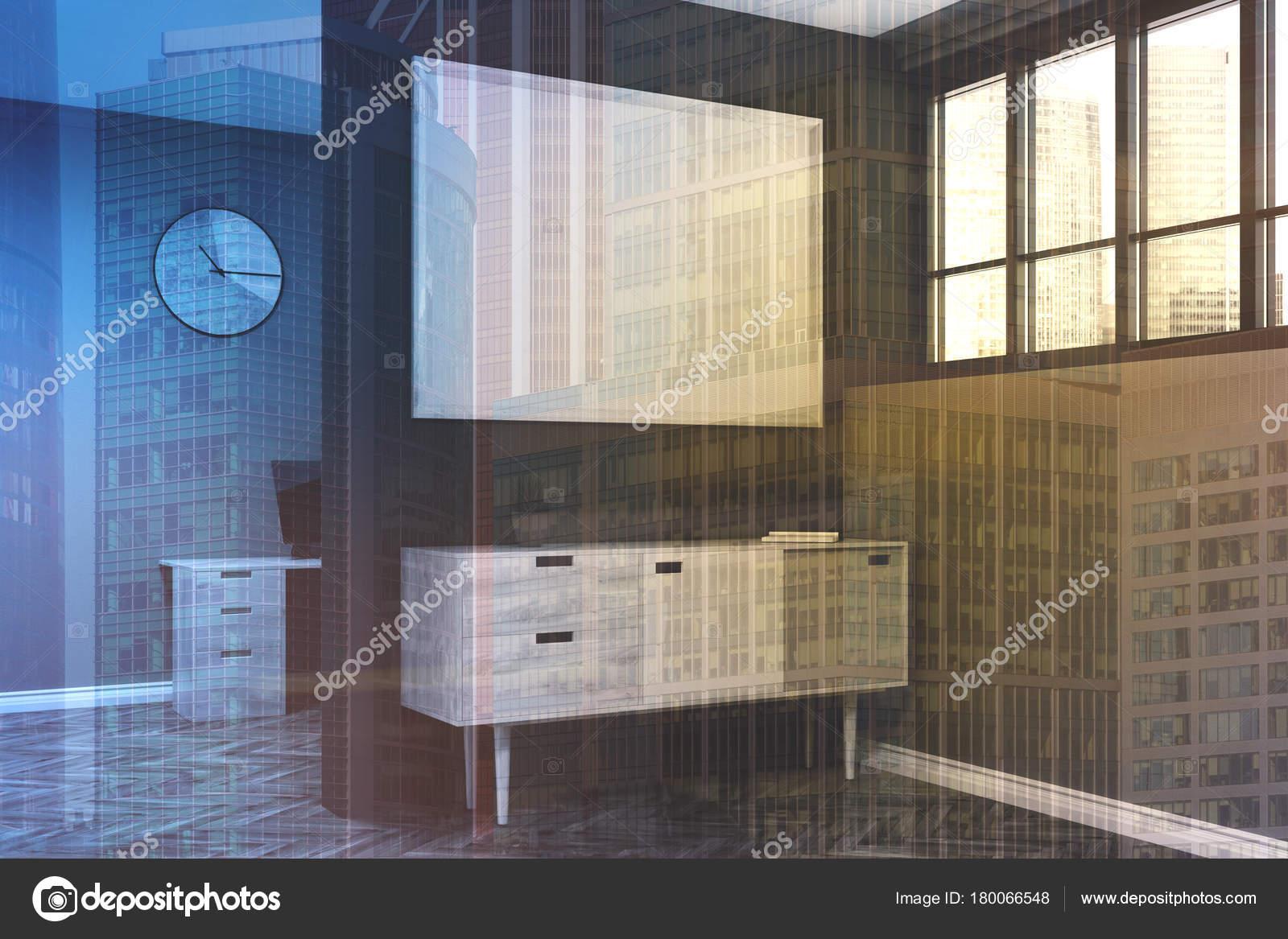 Grijze woonkamer, poster, kast kant toned — Stockfoto ...