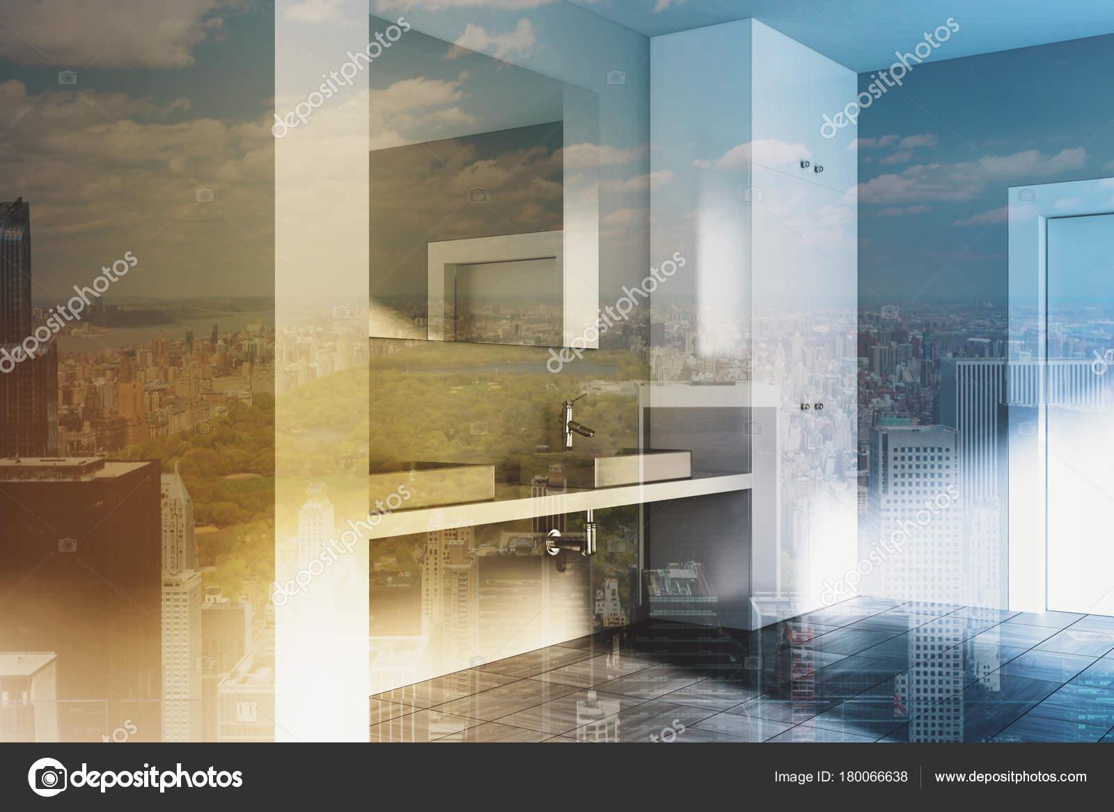 Hoek Wasbak Badkamer : Grijze badkamer hoek dubbele wastafel toned u stockfoto