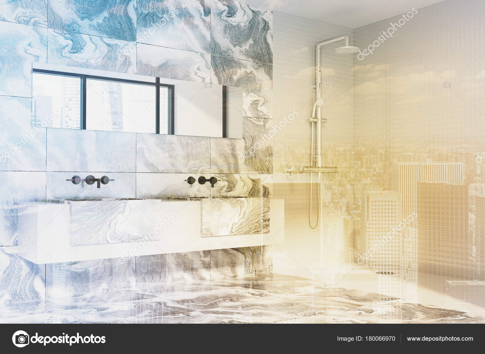 Bagno in marmo bianco doccia e lavandino tonica u foto stock