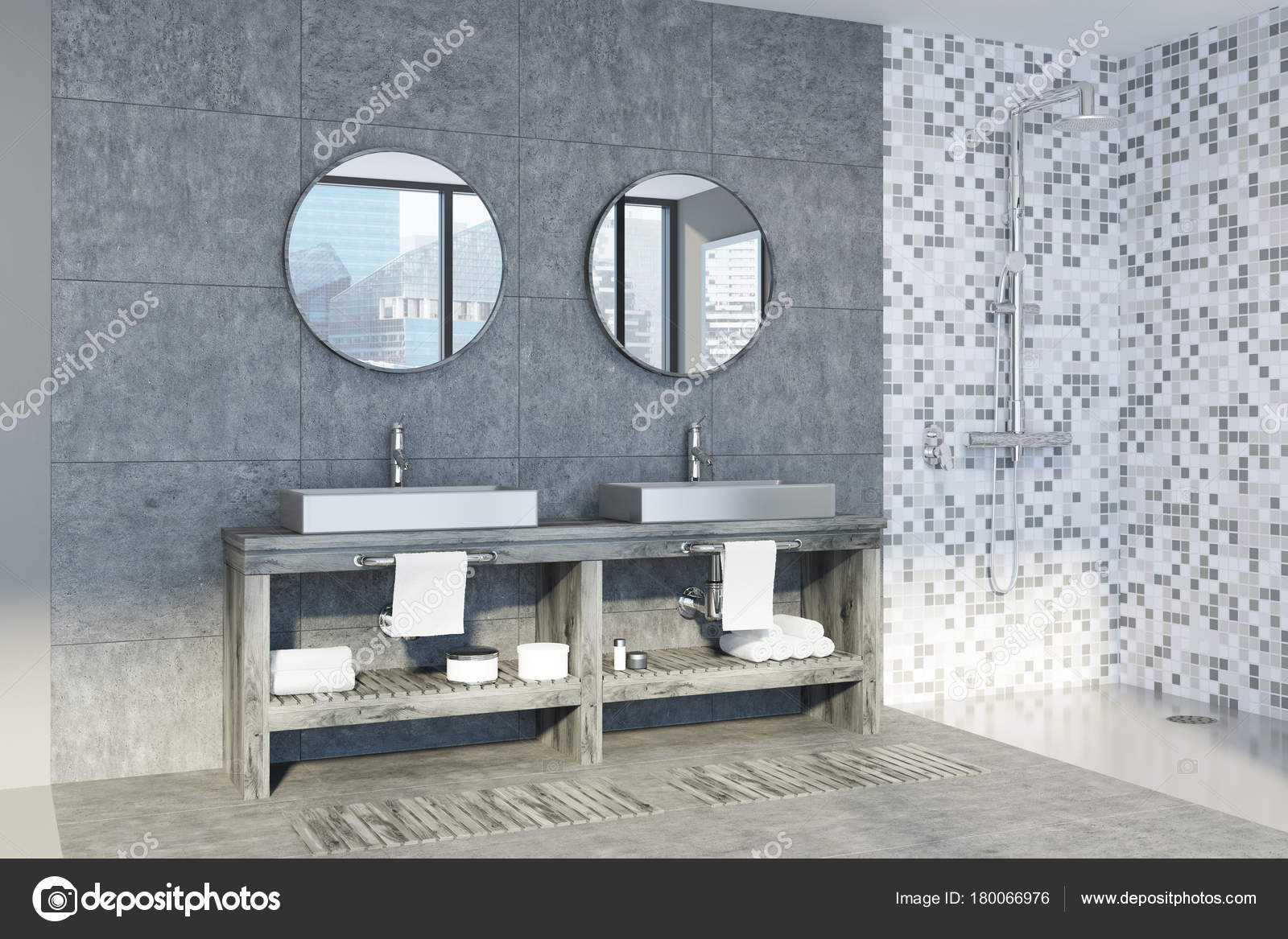 White marble bathroom, sink and shower — Stock Photo ...