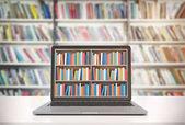 Notebook s regály na obrazovce, knihovna