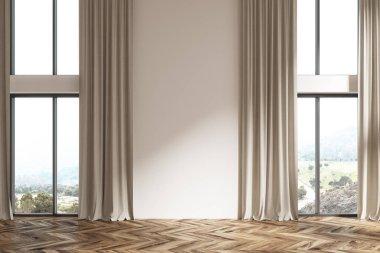 Empty white room, beige curtains