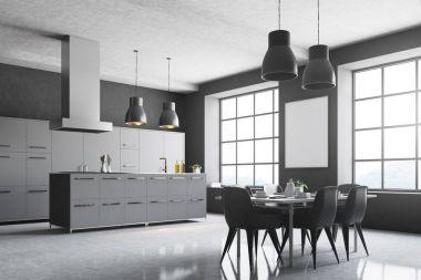 Gray kitchen corner, square windows, table