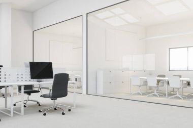 White open space office corner