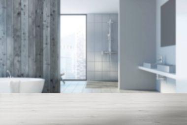 Wooden bathroom interior blurred