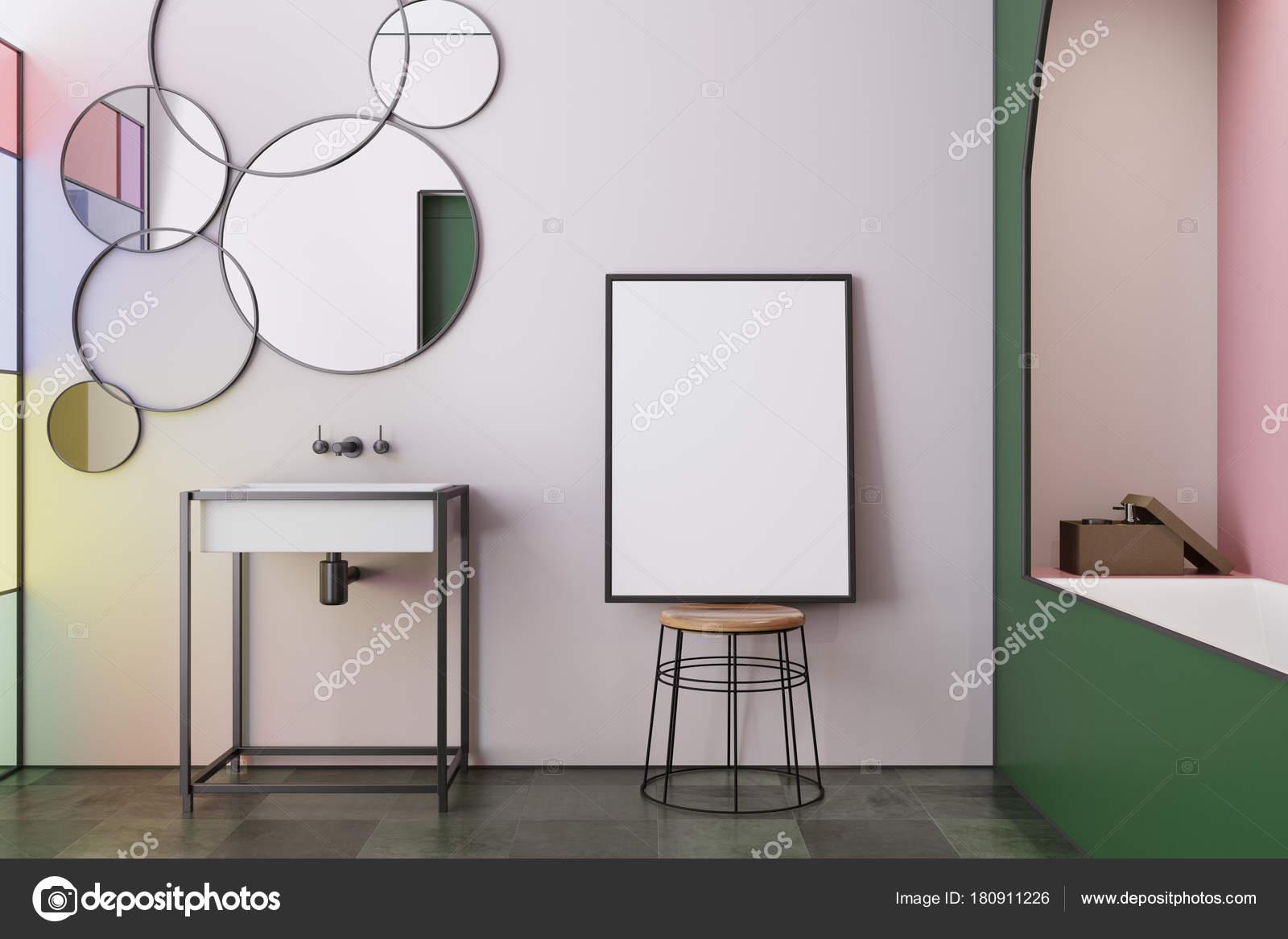 Rose teinté verre salle de bain, évier, affiche ...