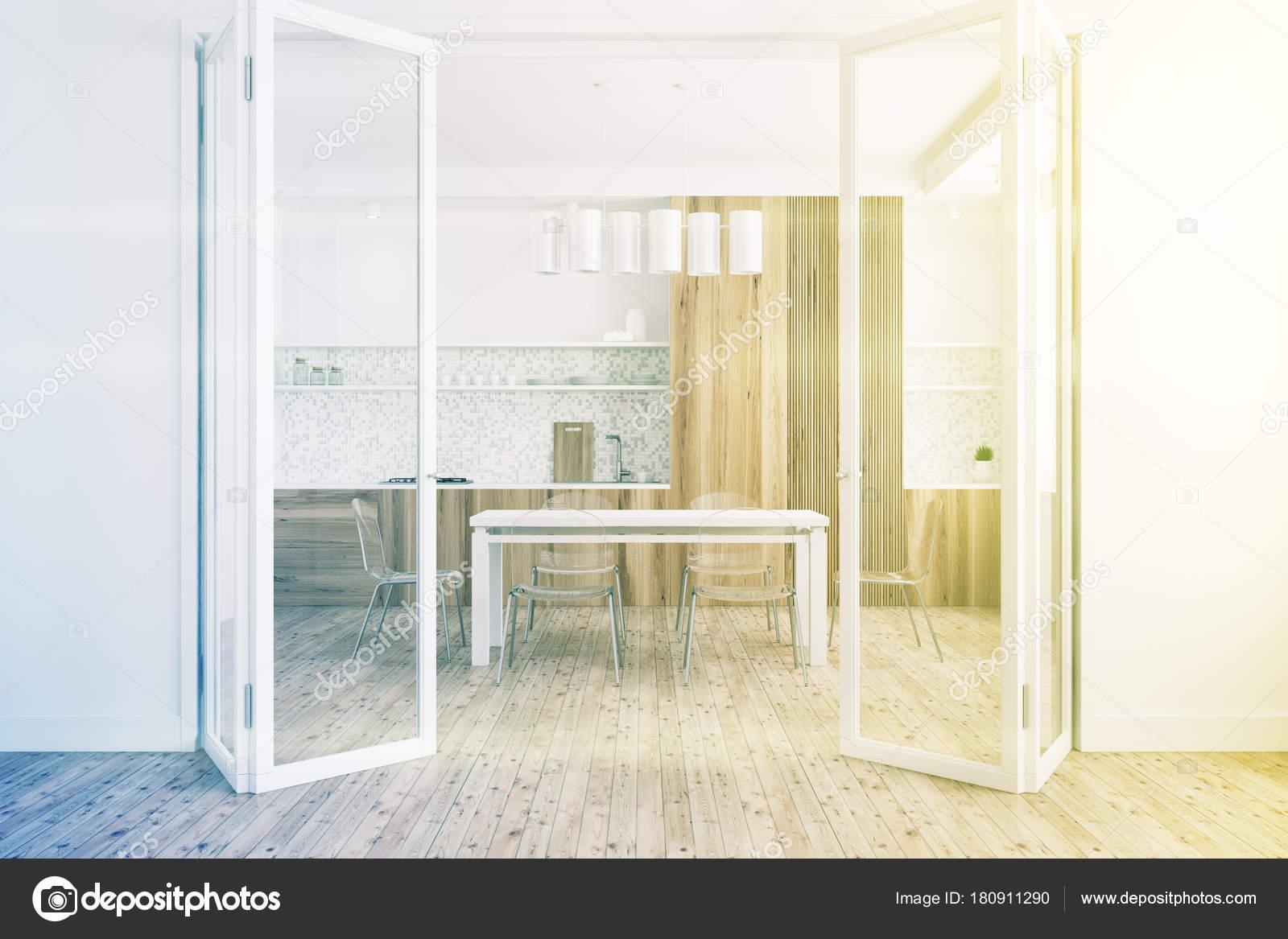 White Dining Room Glass Door Toned Stock Photo