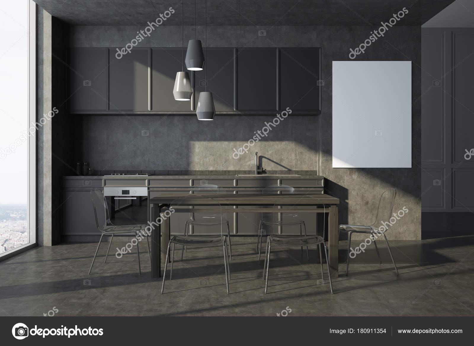Interior, armarios de cartel, gris cocina gris — Fotos de Stock ...