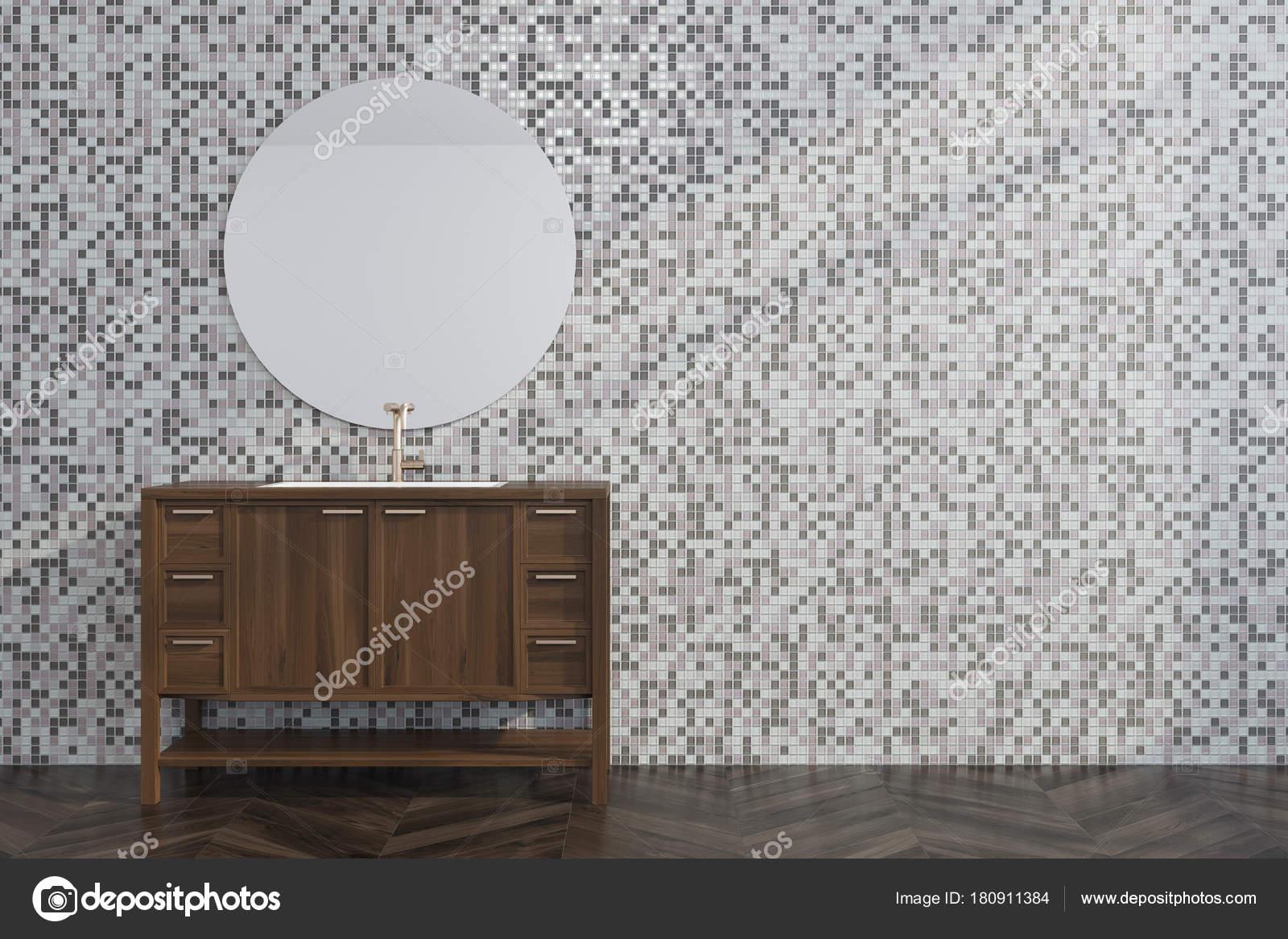 Grijze Tegels Woonkamer : Grijze tegel woonkamer houten dressoir u stockfoto