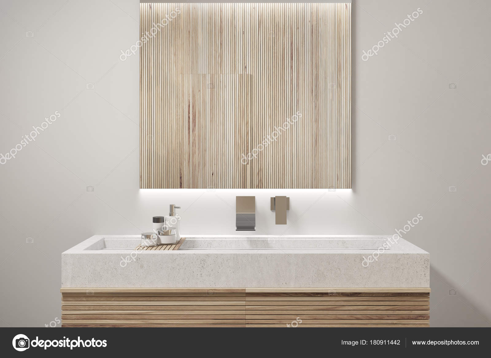 Houten badkamer interieur, wastafel closeup — Stockfoto ...