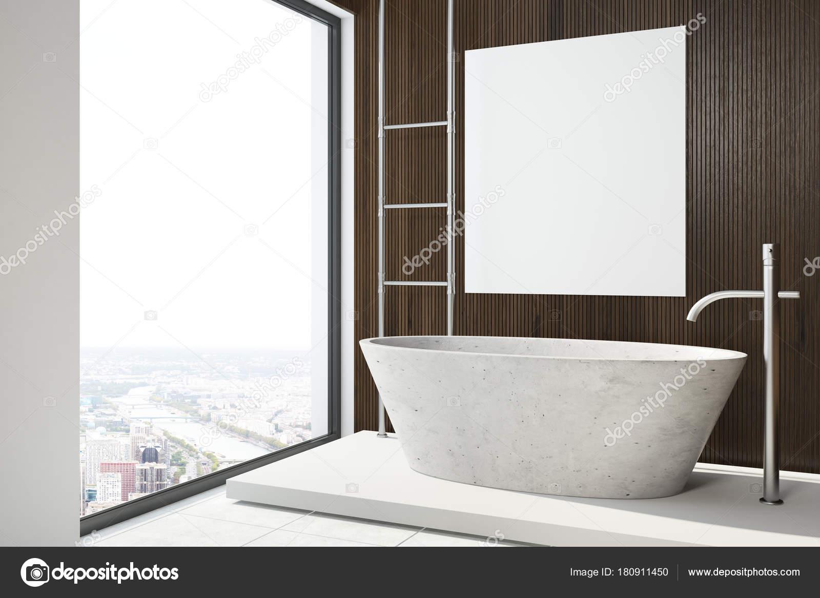 Poster idromassaggio e bagno di servizio in legno scuro u foto