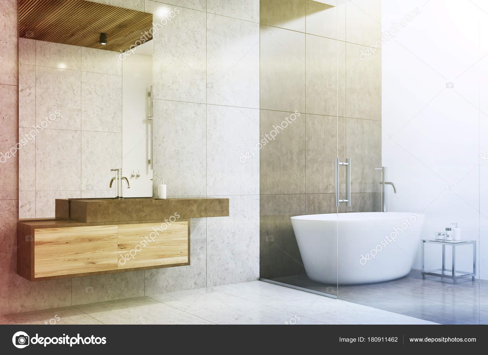 Esquina del cuarto de baño gris y blanco entonado — Fotos de Stock ...