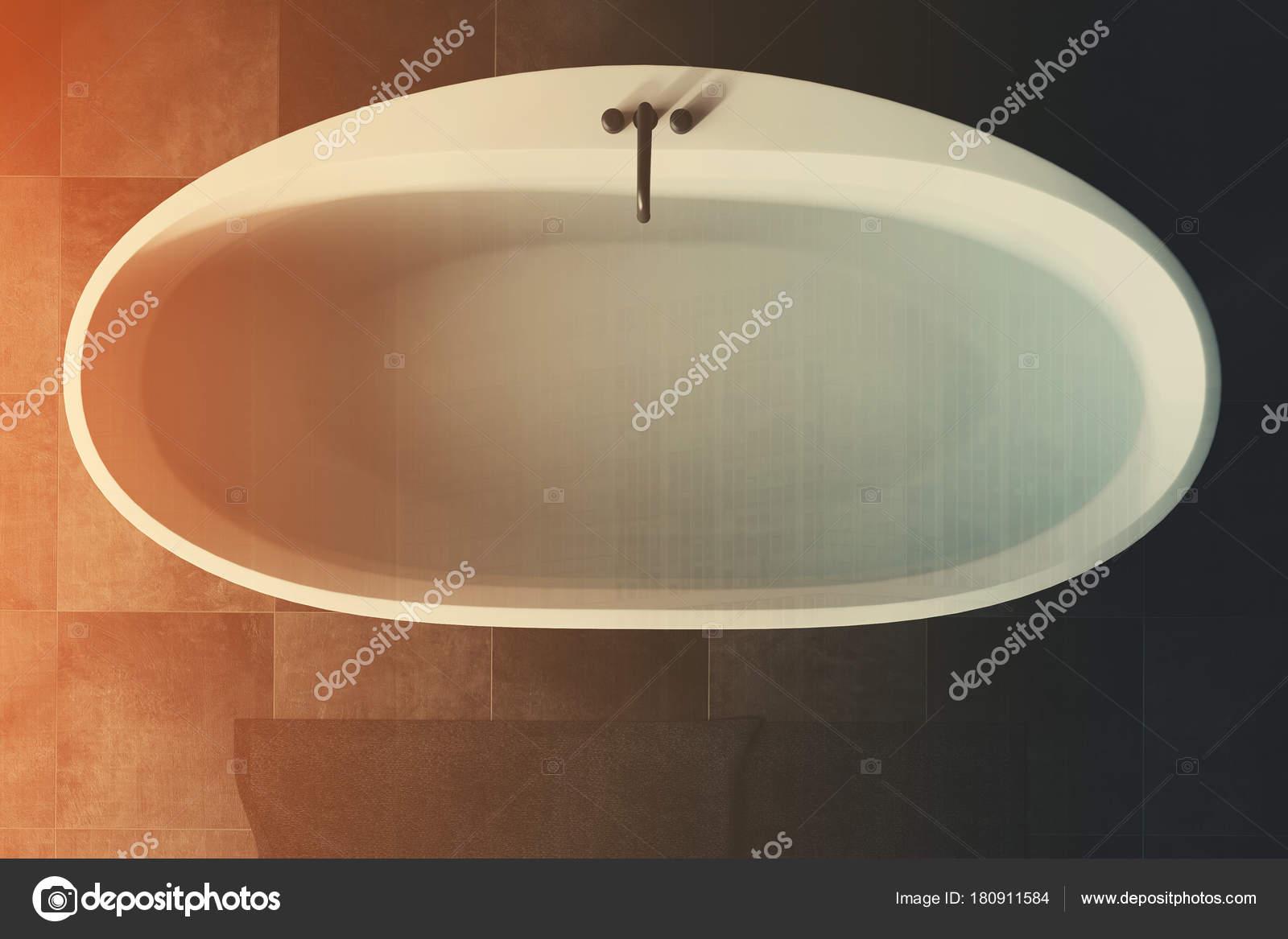 Black bathroom white tub top view toned — Stock Photo ...