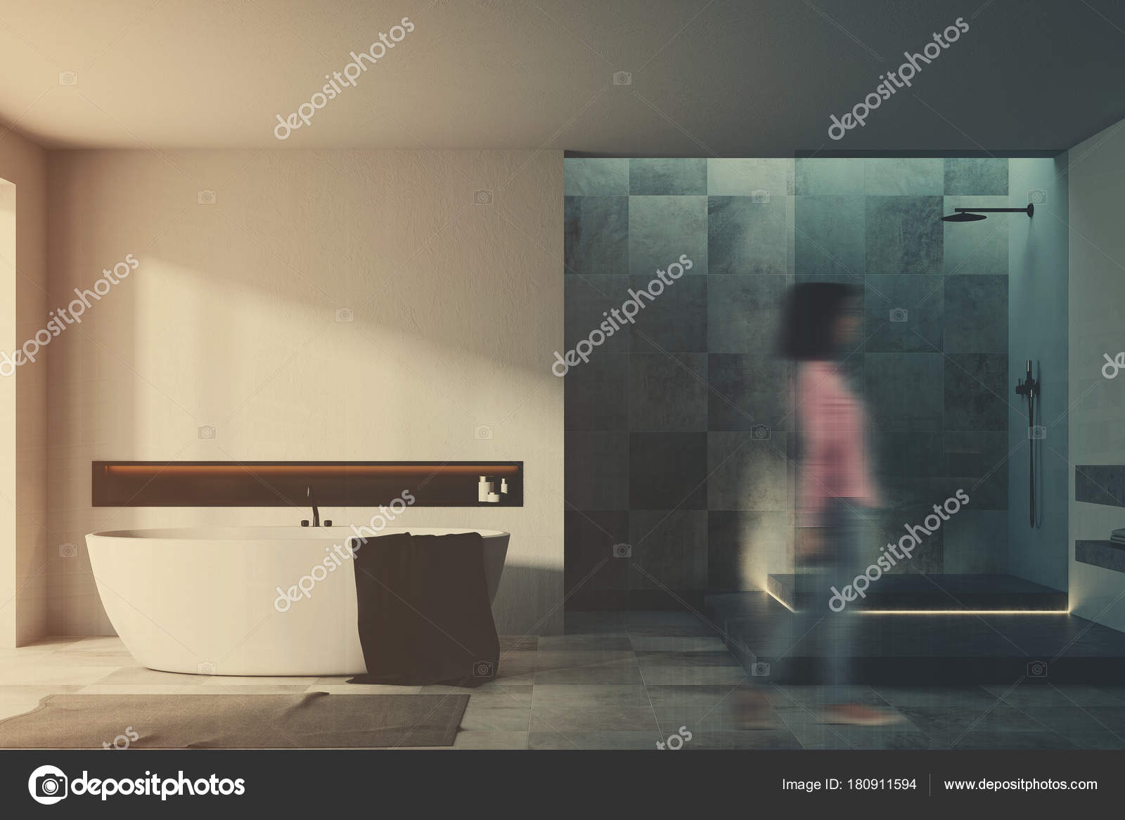 Witte en betegelde badkamer interieur vrouw vervagen u2014 stockfoto