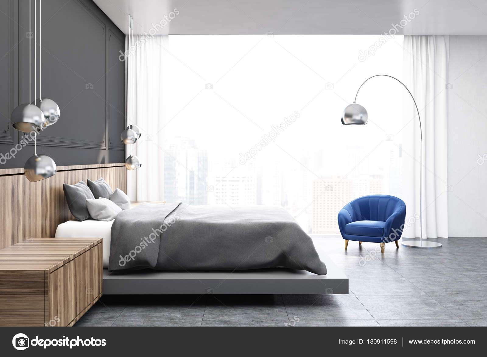 grau und holz schlafzimmer graue bett seite stockfoto denisismagilov 180911598. Black Bedroom Furniture Sets. Home Design Ideas