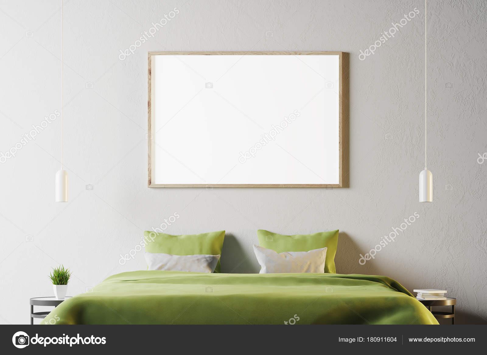 Slaapkamer Groen Wit : Wit slaapkamer met groene bed en poster u2014 stockfoto © denisismagilov