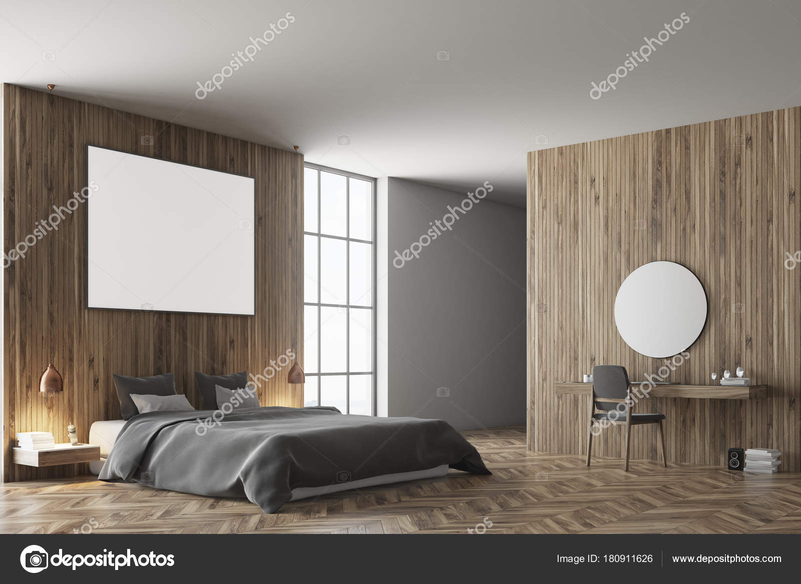Hölzerne Schlafzimmer Ecke, graue Bett dunkel — Stockfoto ...