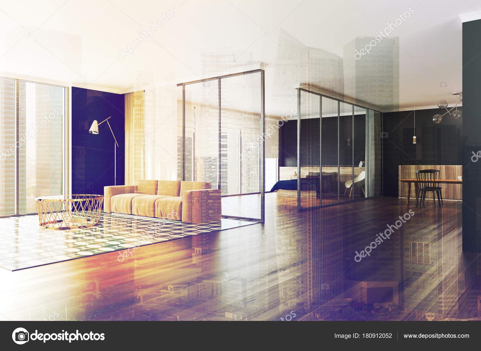 Woonkamer Zwarte Muur : Moderne zwarte muur appartement hoek toned u2014 stockfoto
