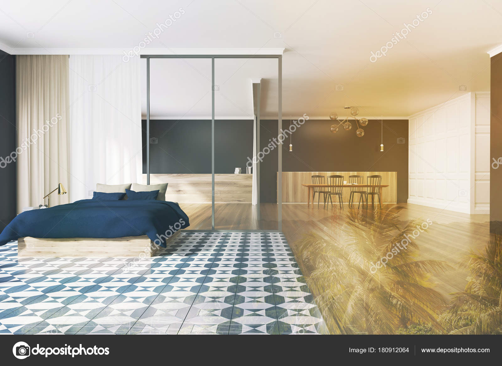 Vloer Voor Slaapkamer : Geblokte vloer slaapkamer en eetkamer zwart zon u stockfoto