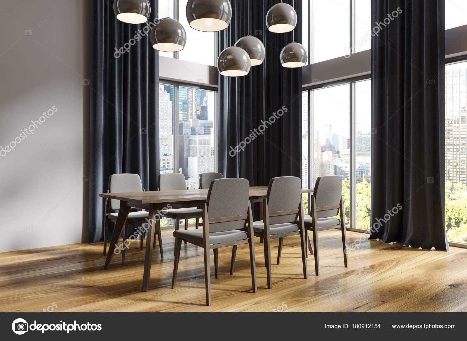 White Dining Room Corner Black Curtains Stock Photo