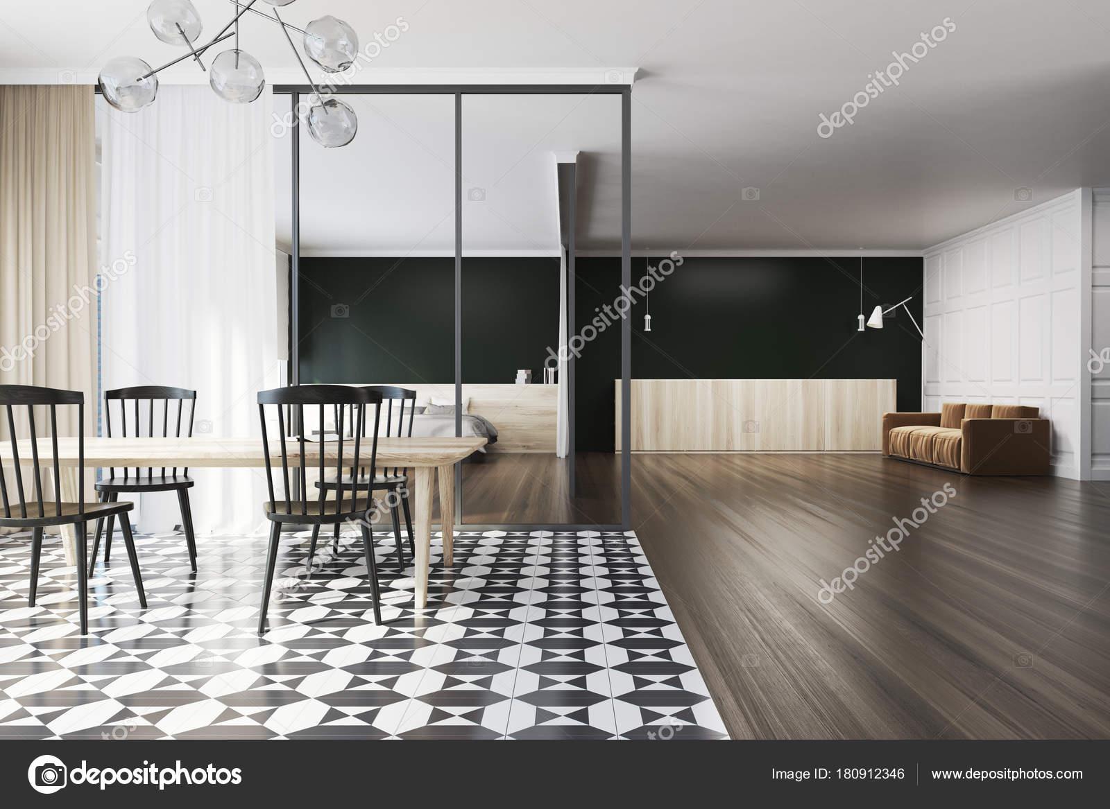 Sala da pranzo divano piastrelle in bianco e nero u foto stock