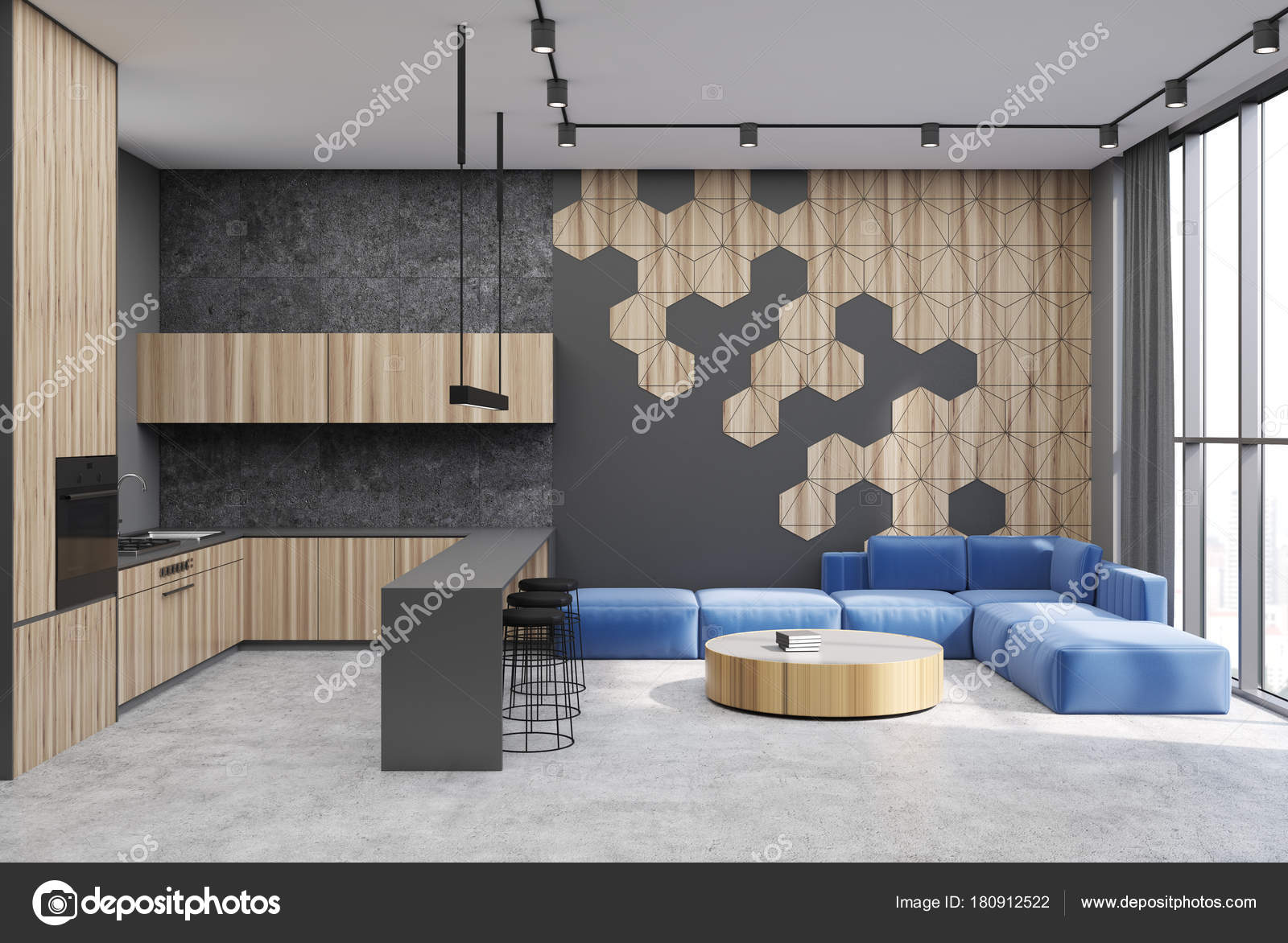 Hexagon pattern living room and bar — Stock Photo © denisismagilov ...