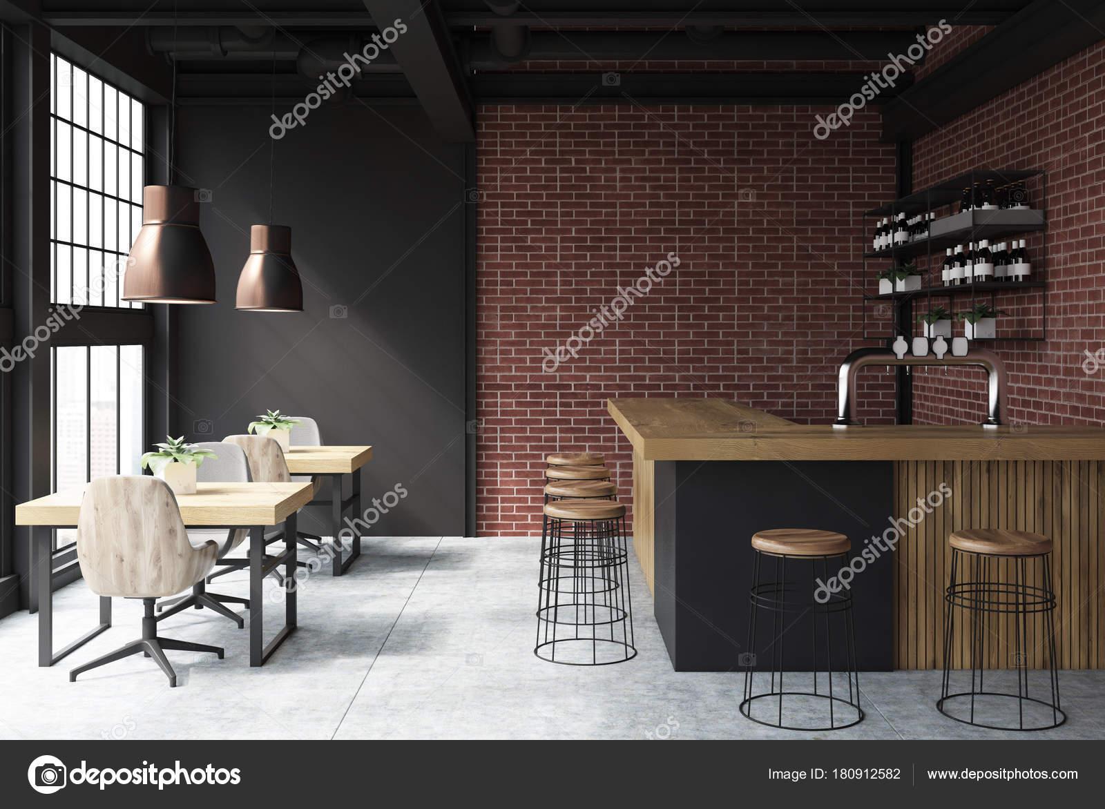 Black and brick bar interior — Stock Photo © denisismagilov #180912582