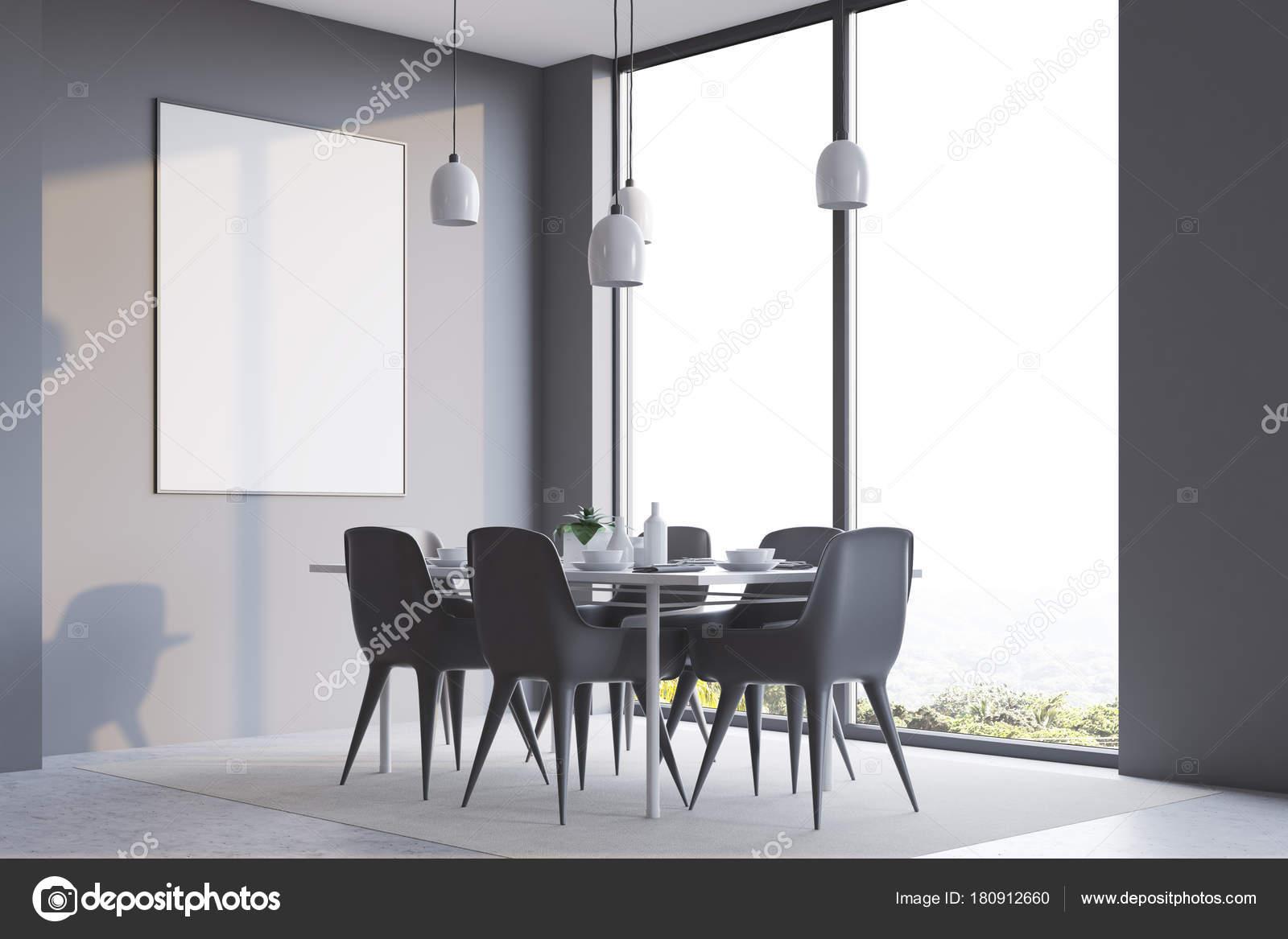 Graue minimalistisch speisesaal corner plakat u2014 stockfoto