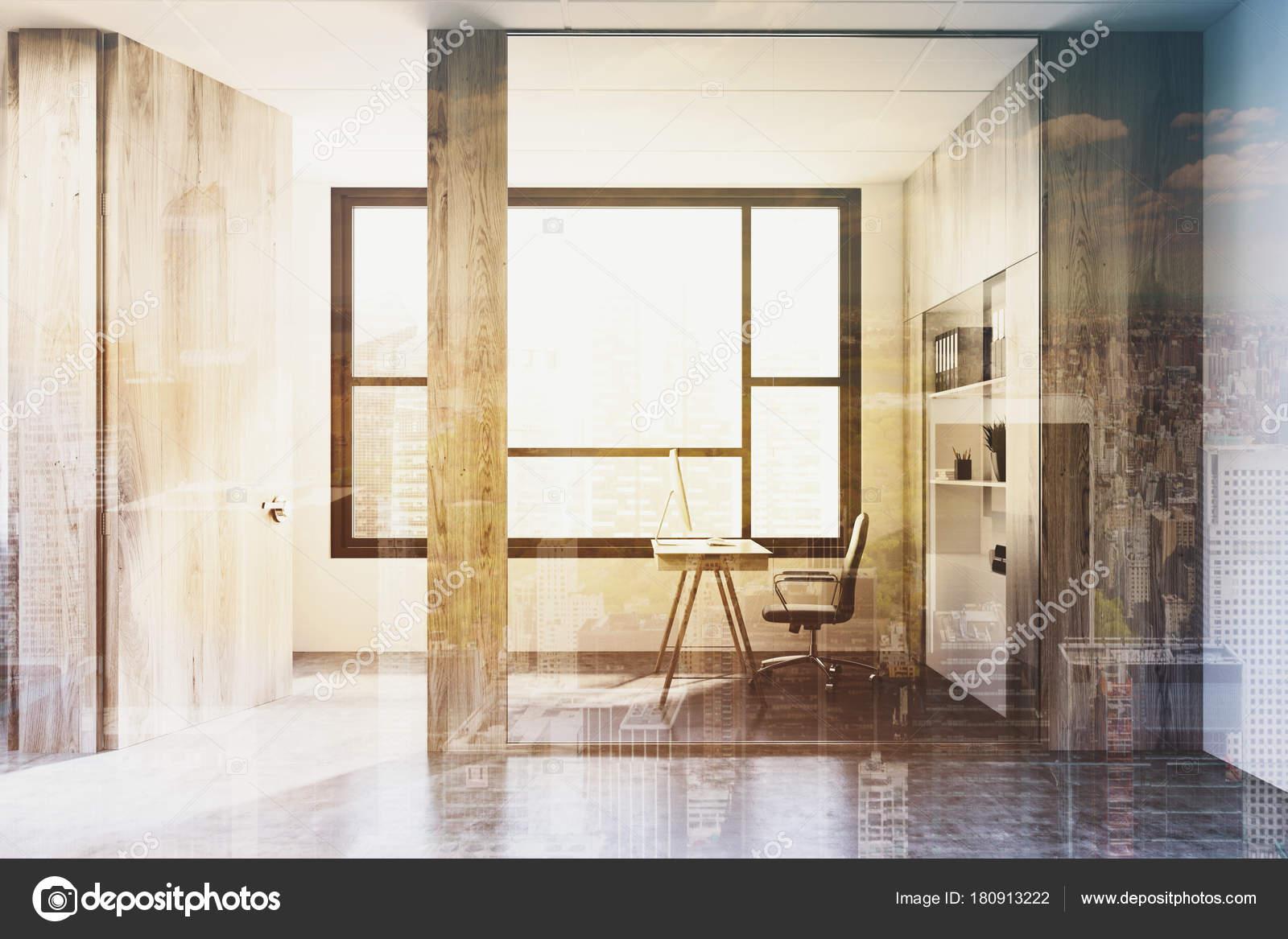 Blanc et bois ouvrent espace bureau côté tonifiée u photographie