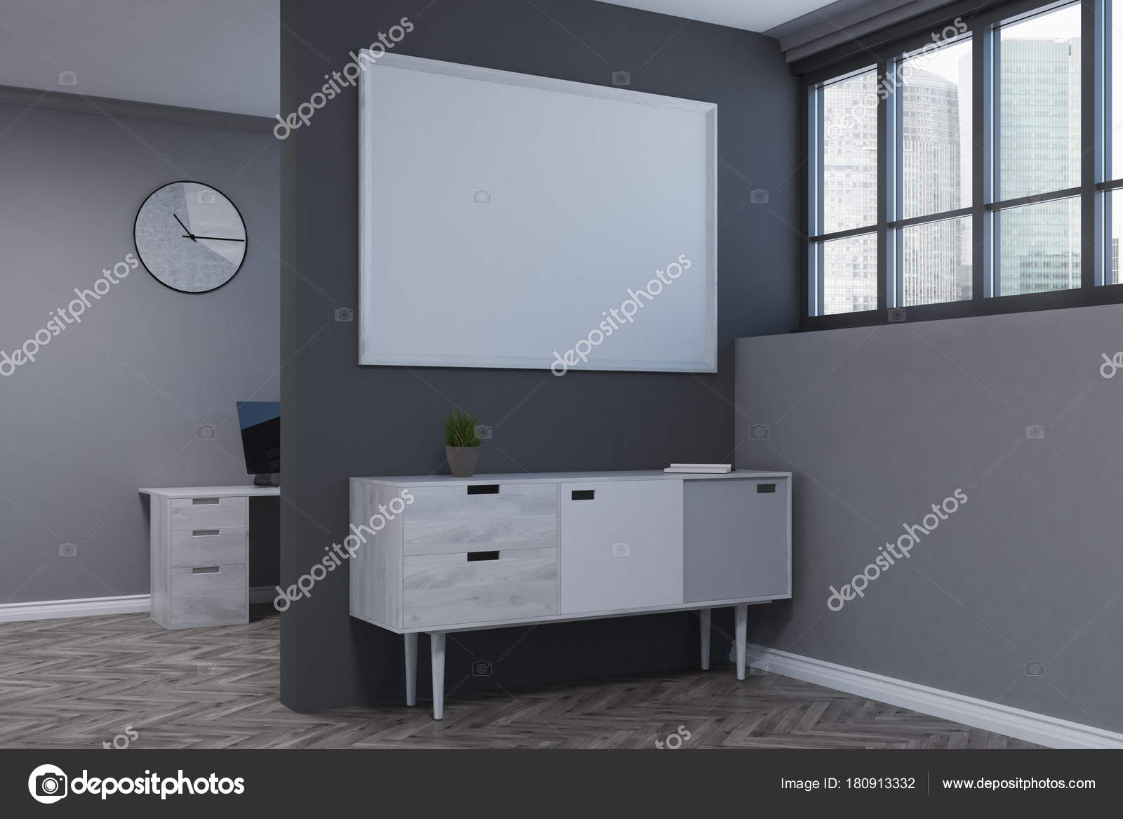 Gray Living Room, Poster, Chest Of Drawers Side U2014 Stock Photo