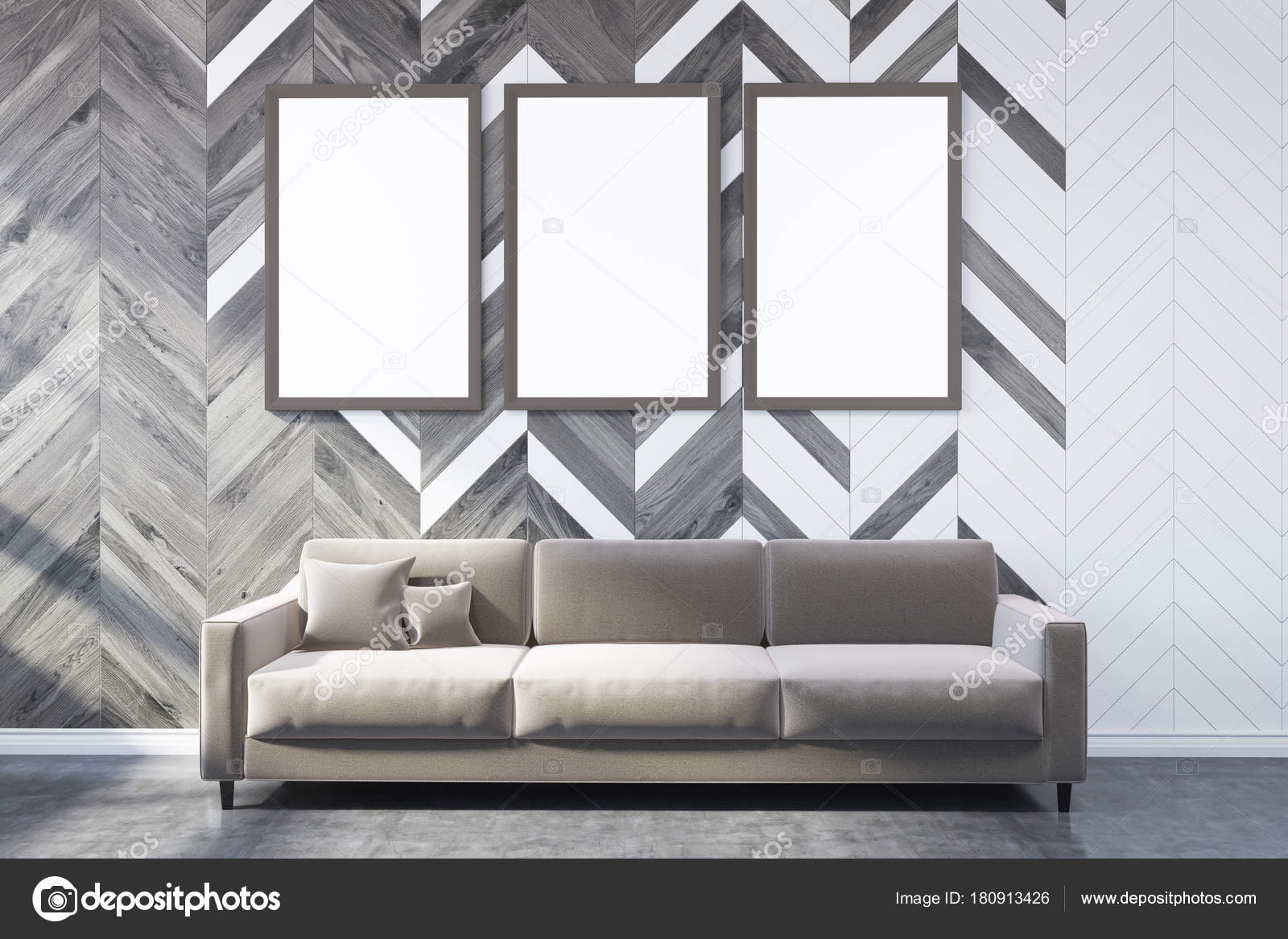 White and wooden living room, poster gallery, sofa — Stock Photo ...