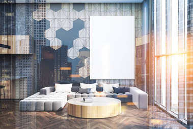 Gray and wooden living room, poster and sofa