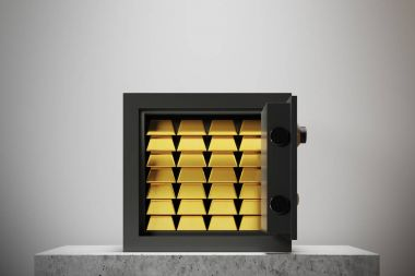 Open safe box, white wall, gold ingots