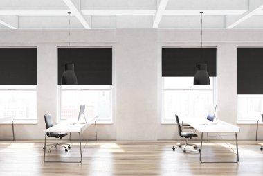 Wooden floor open space office, rows of desks