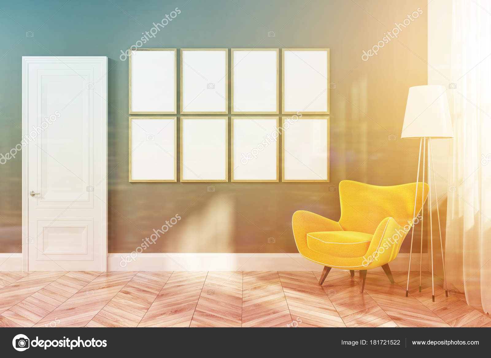 Graue Wohnzimmer Interieur Mit Holzfußboden Und Gerahmten Vertikale Poster  An Der Wand Hängen über Einem Gelben Sessel. 3D Rendering Mock Up Getönten  Bild ...