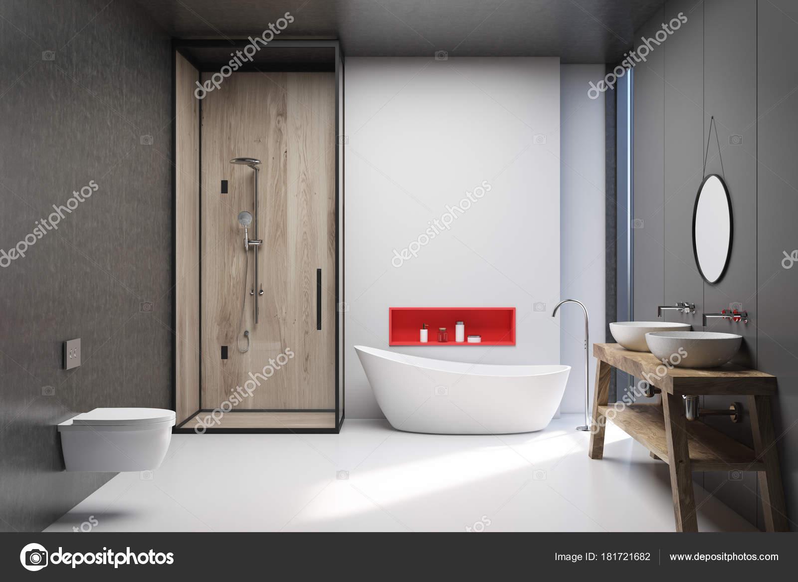 Blanc, gris et en bois de salle de bains, poster ...