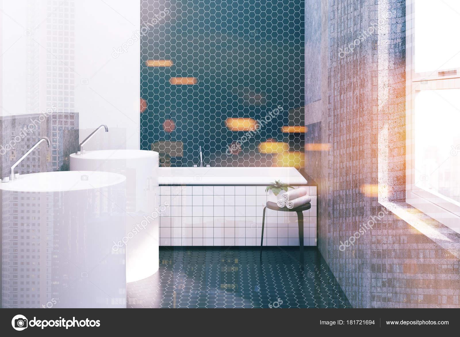 Hexágono azulejo blanco y negro cuarto de baño, fregaderos de tonos ...