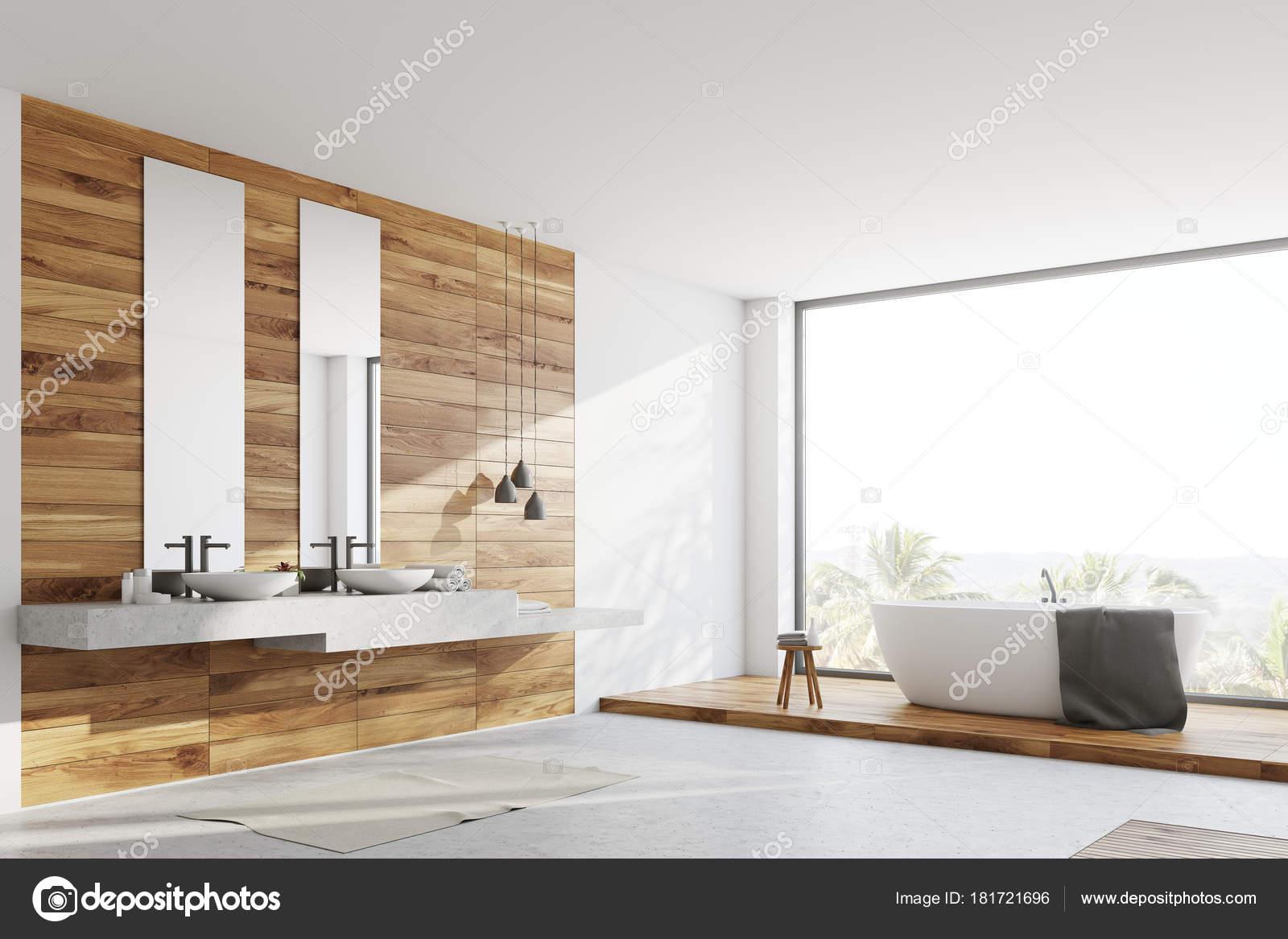 Weiß und Holz Bad, Doppelwaschbecken — Stockfoto © denisismagilov ...
