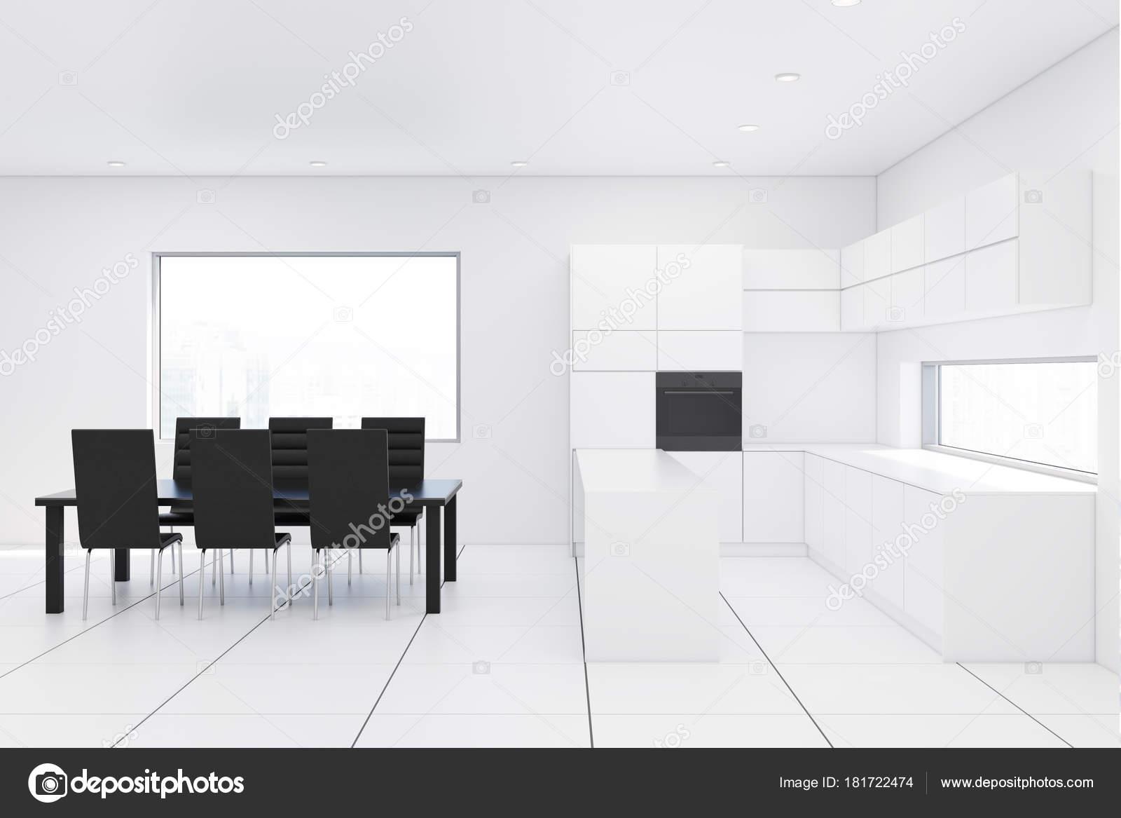 Tavolo da cucina bianco, nero — Foto Stock © denisismagilov #181722474