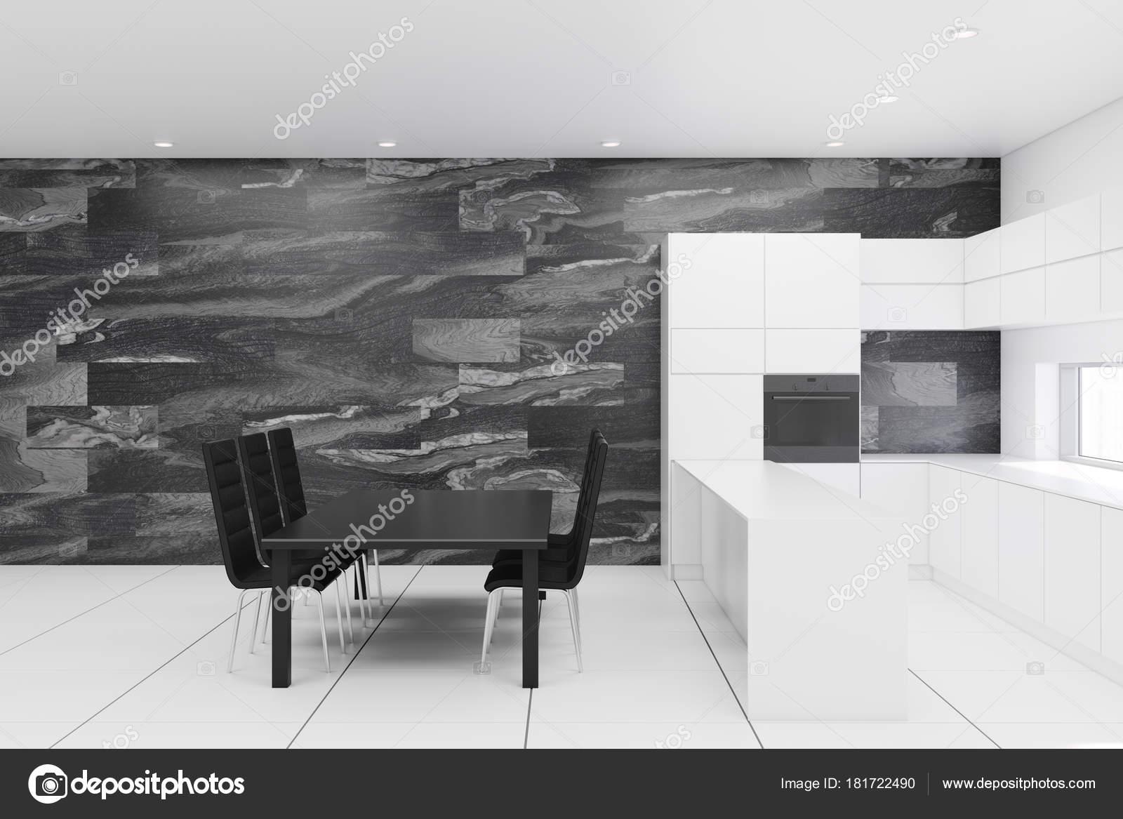 Marmer Zwart Keuken : Zwarte marmeren keuken met een tafel u2014 stockfoto © denisismagilov